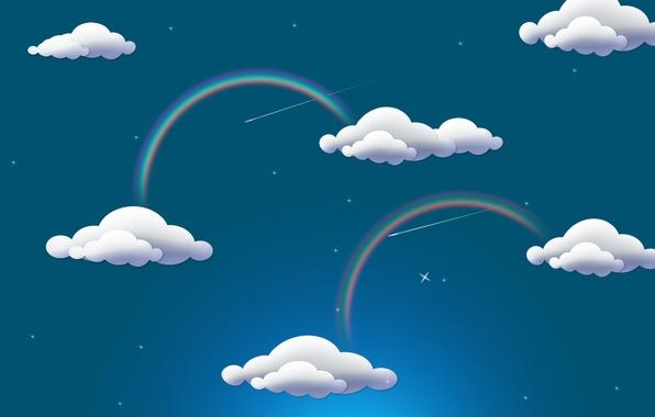 Картинка облака, радуга, rainbow