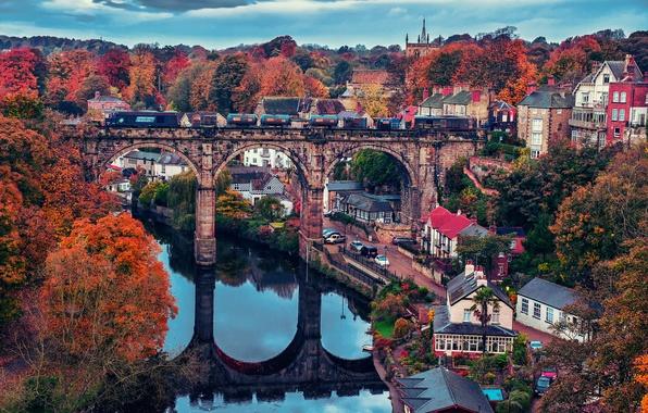 Картинка осень, небо, город, река, краски, поезд, дома
