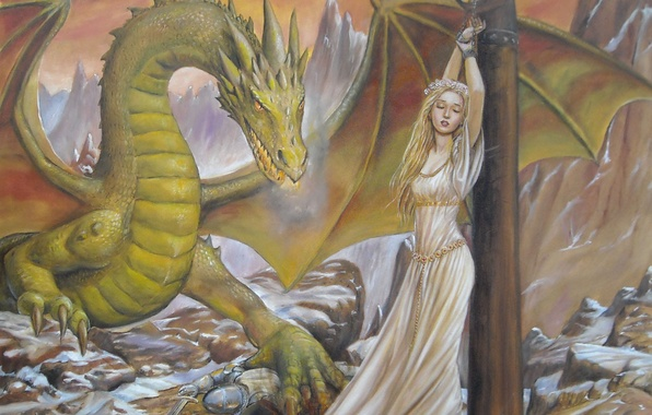 Картинка девушка, лицо, камни, фантастика, скалы, волосы, дракон, крылья, столб, меч, платье, когти