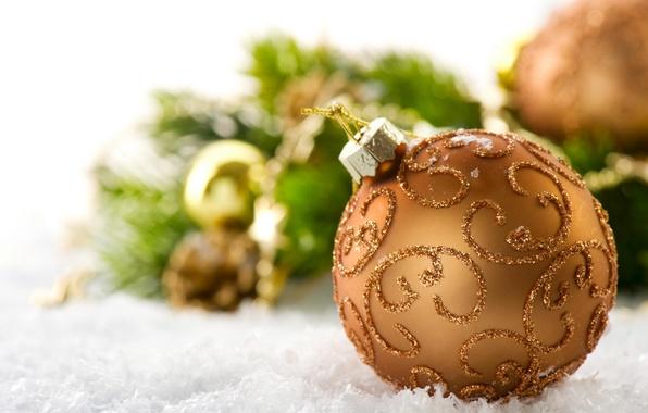 Картинка снег, праздник, игрушка, новый год, шарик, декорации, happy new year, christmas decoration, новогодние обои, christmas …
