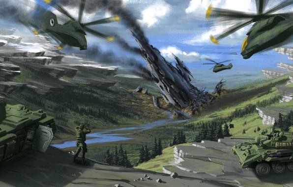 Картинка горы, война, вертолеты, арт, солдат, танки