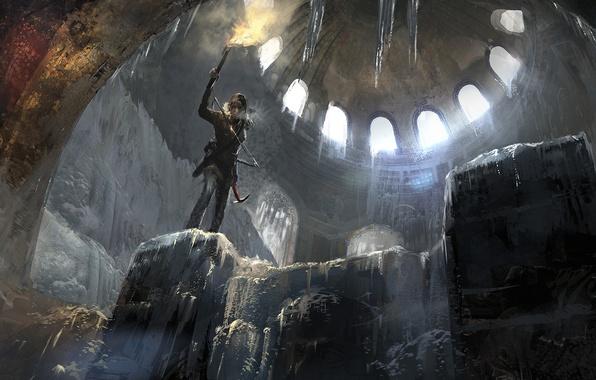 Картинка Снег, Огонь, Лед, Свет, Лук, Пламя, Лара Крофт, Арт, Lara Croft, Гробница, Rise of the: …