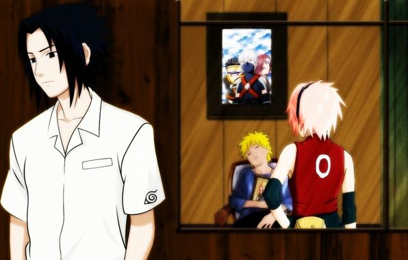 Картинка глаза, взгляд, картина, спит, книга, Аниме, Наруто, Naruto, art, haruno sakura, Учиха Саске, Узумаки Наруто, …
