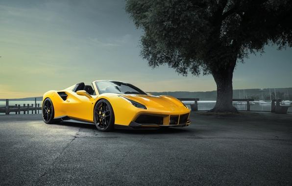 Картинка car, авто, дерево, Ferrari, yellow, wallpapers, tree, Spider, Rosso, Novitec, 488