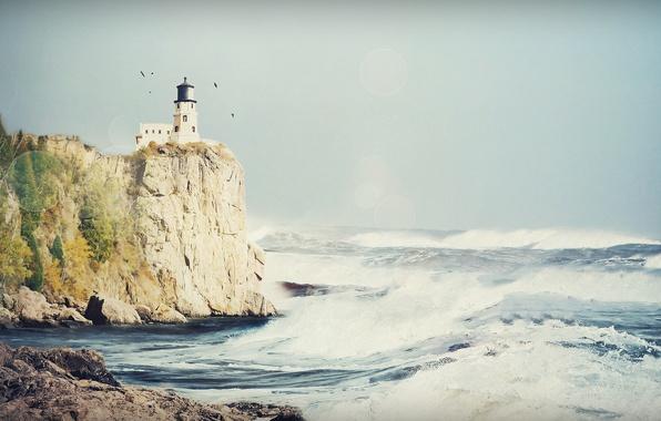 Картинка море, волны, небо, пена, вода, свет, брызги, птицы, скала, блики, камни, океан, скалы, берег, камень, …