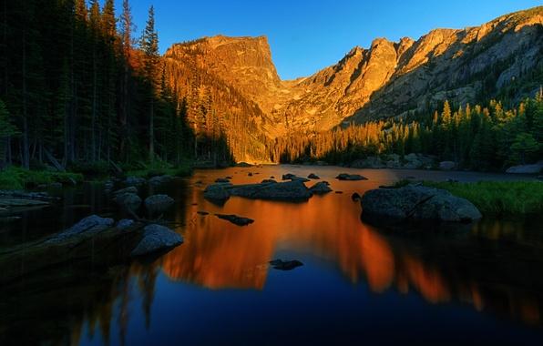 Картинка деревья, пейзаж, горы, природа, красота, голубое небо