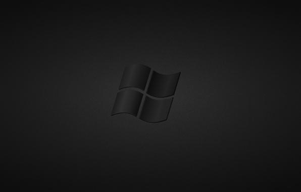 Картинка серый, черный, темный, лого, windows, logo, black, винда