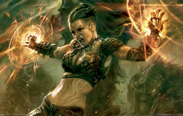 Картинка девушка, фентези, магия, воин, hellgate london
