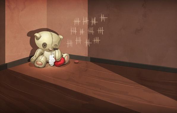 Картинка грусть, брошенный, одиночество, стена, печаль, предательство, игрушка, сердце, медведь, мишка, угол, пол, раненый, вата, зарубки