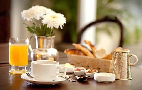 Картинка чай, завтрак, печенье, сок, juice, tea, cookies, Breakfast
