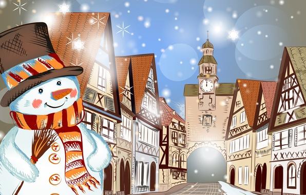 Картинка зима, снег, деревья, горы, дом, новый год, рождество, christmas, merry christmas, снегови