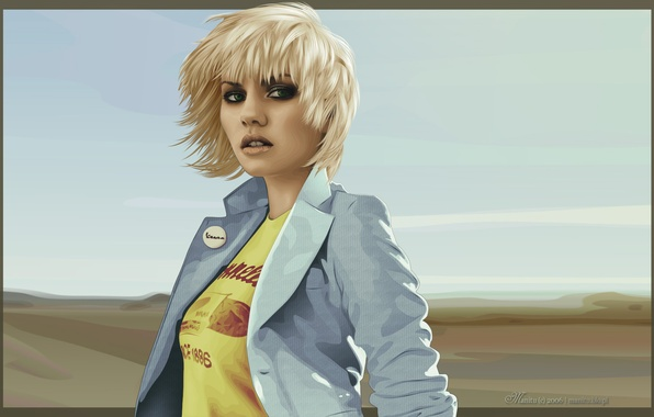Картинка Девушка, Рисунок, Взгляд, Блондинка, Elisha Cuthbert, Открытка