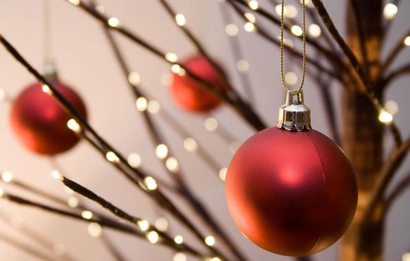 Картинка украшения, красный, огни, фон, праздник, обои, новый год, шар, рождество, размытие, wallpaper, new year, широкоформатные, …
