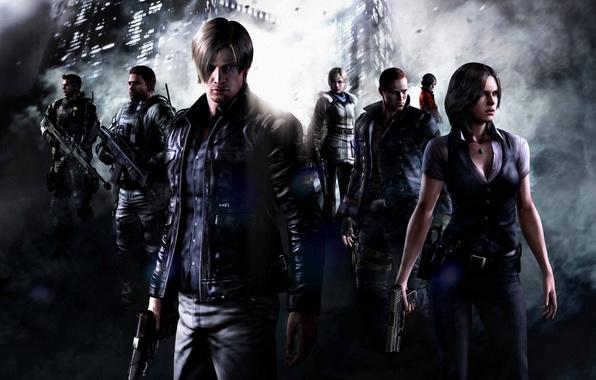 Картинка оружие, дым, команда, Джейк, бойцы, Resident Evil 6, Leon Scott Kennedy, Helena Harper, Chris Redfield, …