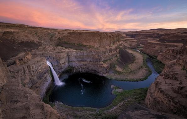 Картинка река, рассвет, водопад, утро, каньон