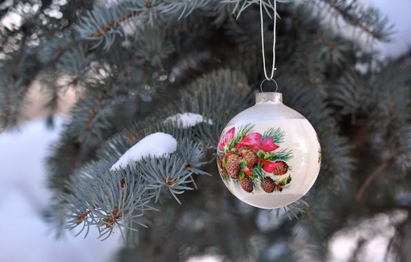 Картинка зима, снег, ветки, праздник, игрушка, елка, шар, Новый год, хвоя, боке