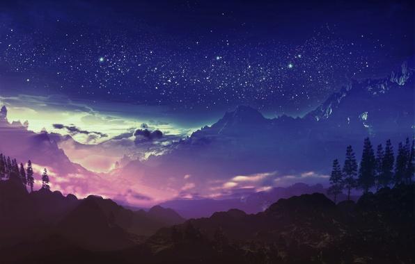 Картинка небо, звезды, облака, горы, ночь, арт, y-k