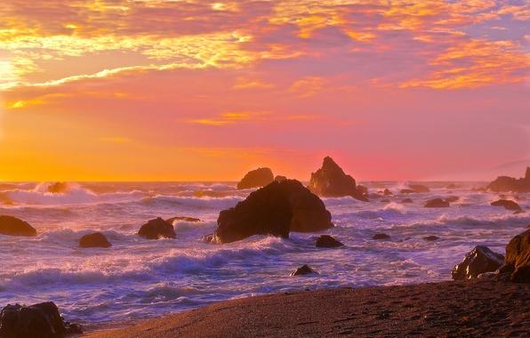 Картинка море, волны, небо, закат, скалы, берег, горизонт