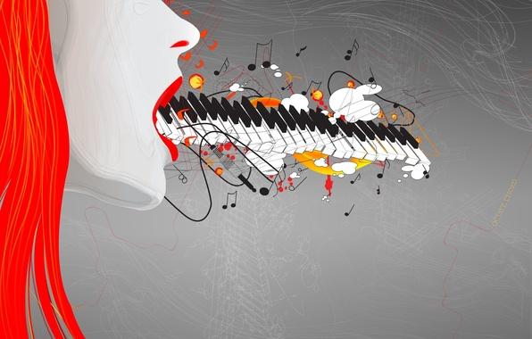 Картинка девушка, музыка, рисунок