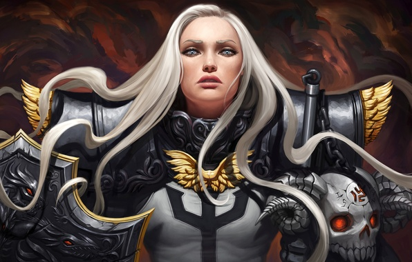 Картинка взгляд, девушка, фантастика, доспехи, воин, арт, броня, щит, белые волосы