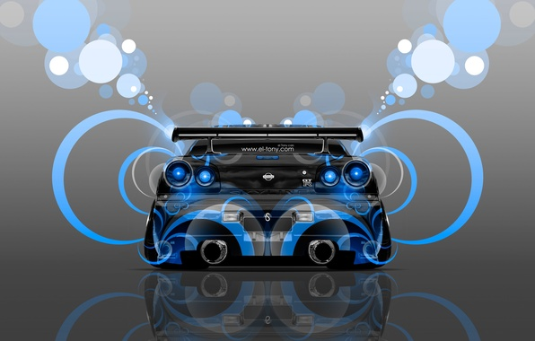 Картинка Цвет, Синий, Стиль, Ниссан, Обои, GTR, Голубой, Nissan, Абстракт, Blue, Photoshop, Фотошоп, Abstract, Style, Skyline, ...