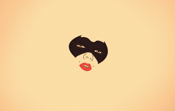 Картинка взгляд, девушка, лицо, минимализм, пирсинг, маска, губы, ваниль, Batwoman, бэтвумен