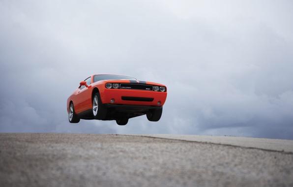 Картинка дорога, машина, авто, красный, полёт, road, auto, dodge