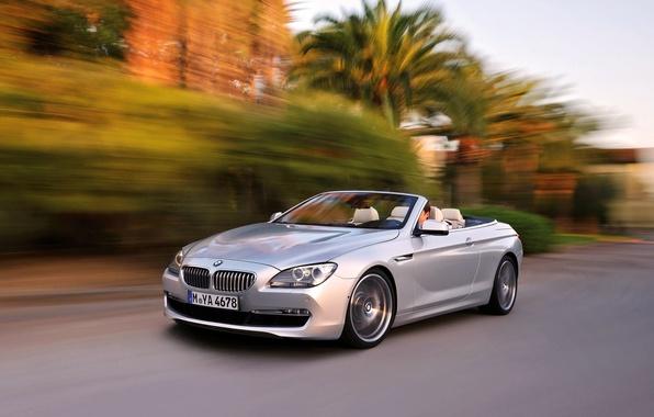 Картинка Авто, BMW, Кабриолет, Серый, БМВ, Купэ, 6 Series, В Движении