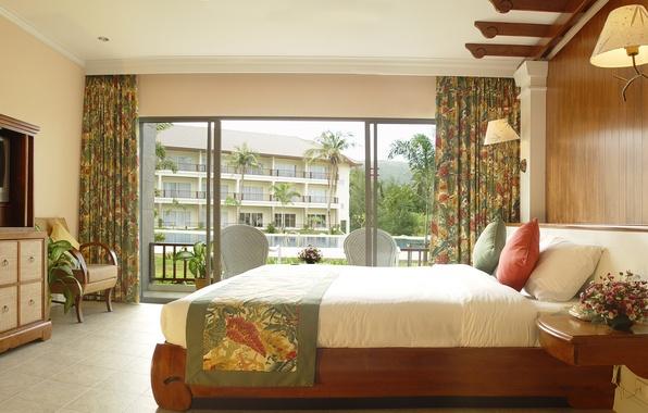 Картинка цветы, уют, вид, букет, растения, кресло, подушки, телевизор, окно, постель, светильник, ваза, балкон, шкаф, шторы, …