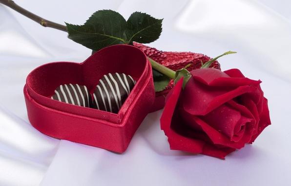Картинка роза, конфеты, красная, сердечко, коробочка