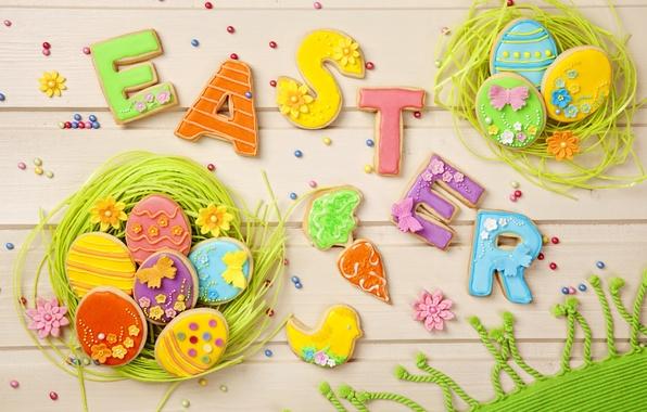 Картинка праздник, весна, colorful, печенье, пасха, sweet, глазурь, eggs, holiday, easter, cookies, decoration, letters, pastel