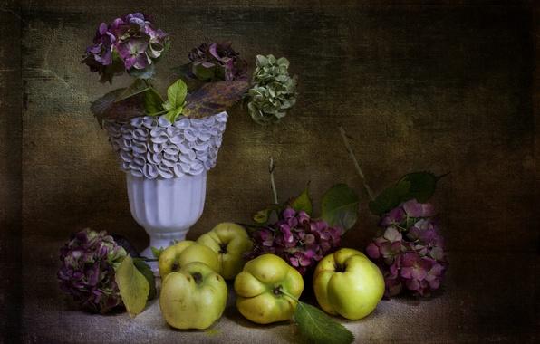 Картинка цветы, ретро, яблоки, ваза, натюрморт