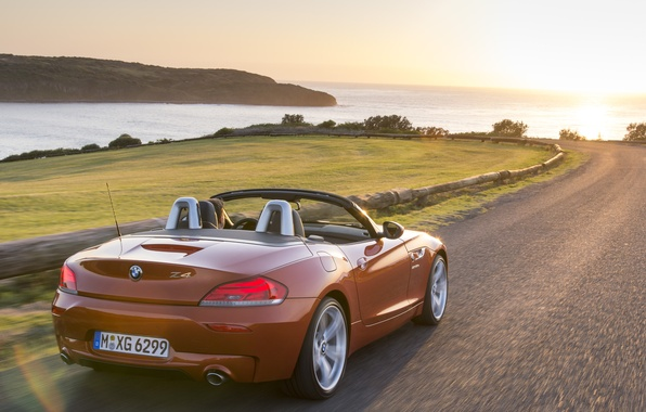 Картинка дорога, море, car, машина, солнце, пейзаж, закат, машины, бмв, Roadster, BMW, тачки, red, родстер, спорткар, …