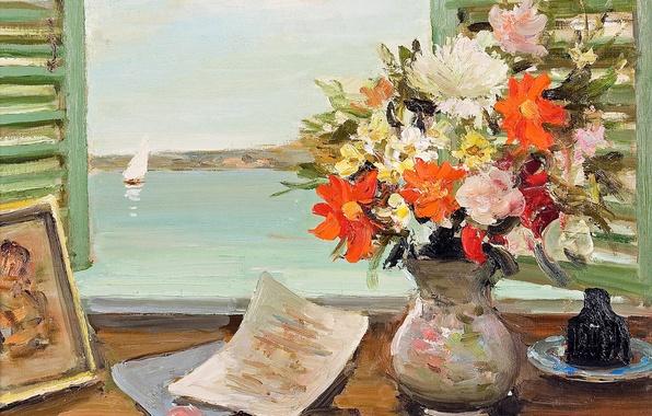 Картинка цветы, лодка, картина, окно, парус, ваза, Марсель Диф, Открытые ставни