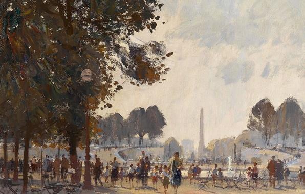 Картинка картина, городской пейзаж, Эдуард Сиго, Вечер. Сад Тюильри. Париж