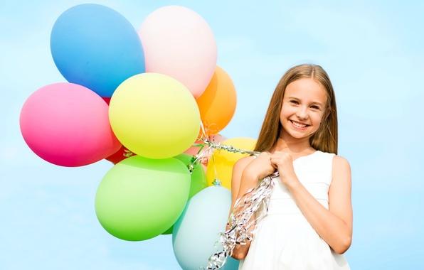 Картинка шарики, радость, счастье, воздушные шары, colorful, девочка, girl, happy, sky, smile, balloons