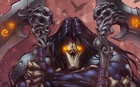Картинка воин, маска, арт, Death, darksiders 2, боевая коса