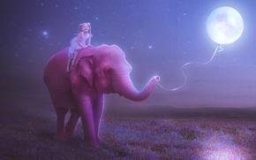Картинка цветы, нитка, ребенок, шарик, рисунок, настроение, ночь, звезды, девочка, улыбка, розовый, луна, слон, луг, небо, ...