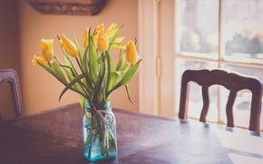 Картинка цветы, стол, желтые, тюльпаны