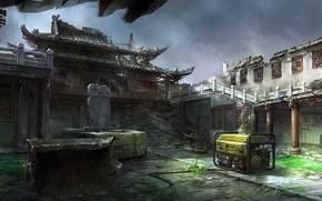 Картинка обломки, азия, арт, двор, храм, разруха, руины, установка, Mourad, генератор