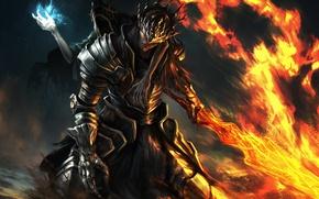 Обои оружие, игра, арт, Dark Souls 3, доспехи, меч, броня, огонь
