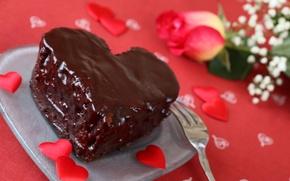 Обои цветок, роза, еда, шоколад, сердца, тарелка, торт, plate, rose, пирожное, cake, flower, heart, food, hearts, ...