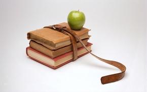 Картинка книги, яблоко, минимализм, ремень, знания