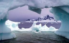 Картинка море, горы, Лед