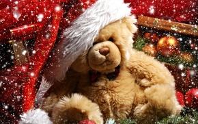 Картинка праздник, снег, подарок, Teddy bear, украшения, Рождество, Новый год, шары, ветка елки, шишка, медвежонок