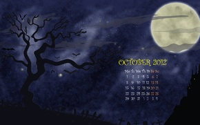 Картинка ночь, дерево, луна, рисунок, вектор, месяц, октябрь, кладбище, хэллоуин, календарь, числа, helloween, october