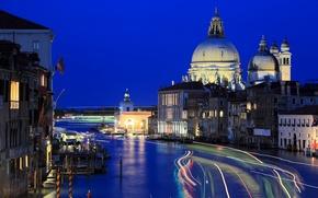 Картинка ночь, огни, дома, Италия, Венеция, канал, трассы