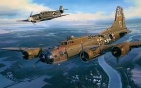 Обои aviation, ww2, painting, airplane, BF-109, art, B-17, war