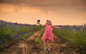 Картинка поле, цветы, девочка