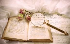 Картинка письмо, розы, книга, лупа, винтаж